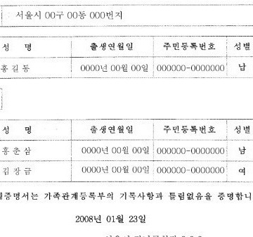 Korean birth certificate translation